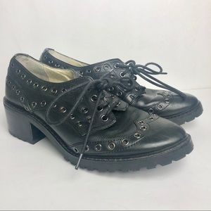 Michael Kors black studded heeled loafers size 8